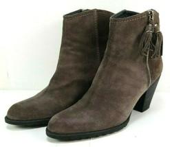 Stuart Weitzman Womens Ankle Boots Size 7.5 M Gray Suede Prancing Mist Velour - $128.65