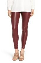 HUE Leggings SZ M Sangria Red Leatherette Leggi... - $19.71