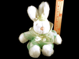 Easter Lite Green Polka Dot Dress Bunny Plush Stuffed Animal Toy Doll Wi... - $5.44