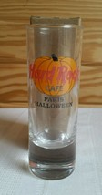 "Hard Rock Cafe PARIS 2000 HALLOWEEN 4"" SHOT GLASS Clear HRC Pumpkin Logo... - $10.97"