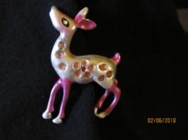 Vintage Metal Enamel Brooch- Pink Fawn Doe Deer Rhinestones - $12.00