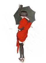 French Pinups: Girl in Red w/ Umbrella in The Rain - Kirchner - 1913 - $12.82+