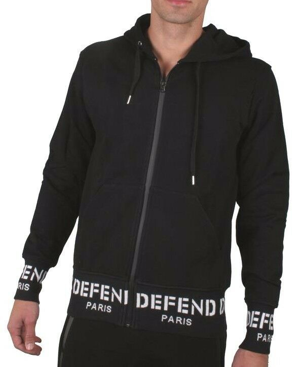 Defend Paris Sign Ribbon Zip-Thru Black White Logo Sweatshirt Hoodie MSRP $170