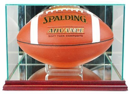 Perfect Cases NFL Rectangle Football Glass Display Case, Cherry