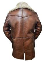 Bane Dark Knight Rises Tom Hardy Fur Shearling Brown Genuine Leather Trench Coat image 4