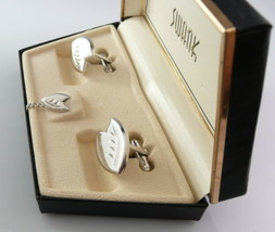 Vintage 1950s SWANK Modern Silver LEAF Design CUFFLINKS & TIE TAC in Ori... - $45.58