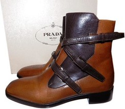 Prada Brown Two Tone Buckles Flat Ankle Moto Riding Bootie 36.5 Boots - $462.00