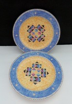 Oneida Table Trends Origami Pattern Salad / Luncheon Plates Blue Yellow Qty 2   - $8.90