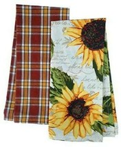 Rustic Sunflower Dish Towel Set of 2 Kitchen Plaid Flowers 100% Cotton  - $19.79
