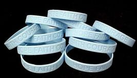 Lymphedema Awareness Bracelets Lot of 12 Light Blue Silicone Hope Faith Courage - $12.71