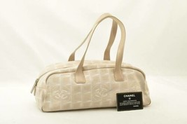 CHANEL New Travel Line Canvas Hand Bag Beige Auth 10562 - $160.00