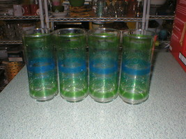 "4 Vintage Libbey Stripe Floral Glasses Tumbler Blue Green 6 1/2"" Tall x ... - $16.59"