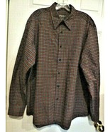 Eddie Bauer Mens Long Sleeve Button Front Shirt Sz L Blue Red Plaid 100%... - $16.99