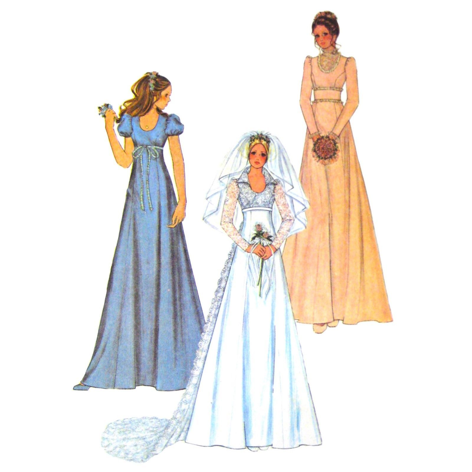 70s Vintage McCalls Sewing Pattern 3770 Junior Wedding Bridesmaid Dress Train 9 - $12.95