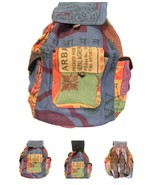 LUNGTA TIBETAN JUTE BACKPACK HAND MADE IN NEPAL FROM RICE BAGS MULTICOLO... - $23.75