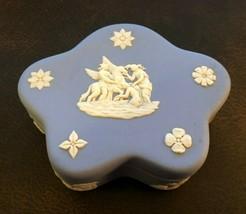 Vintage Wedgwood Jasperware - Pale Blue 5 Star Lidded Trinket Box - Very Nice - $9.50