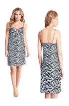 Womens Long Cute Black / White Zebra Print Pattern Chemise Nightgown Lingerie - $12.99