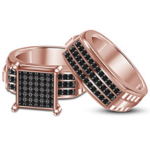 Engagement Bridal Ring Set Round Cut Black CZ Rose Gold Plated Pure 925 ... - $113.88