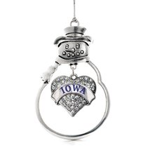 Inspired Silver Iowa Pave Heart Snowman Holiday Christmas Tree Ornament With Cry - $14.69