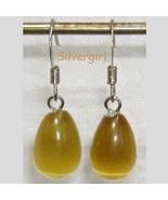 Fiber Optic Shimmering Golden Yellow Tear Drop Earrings - $7.99