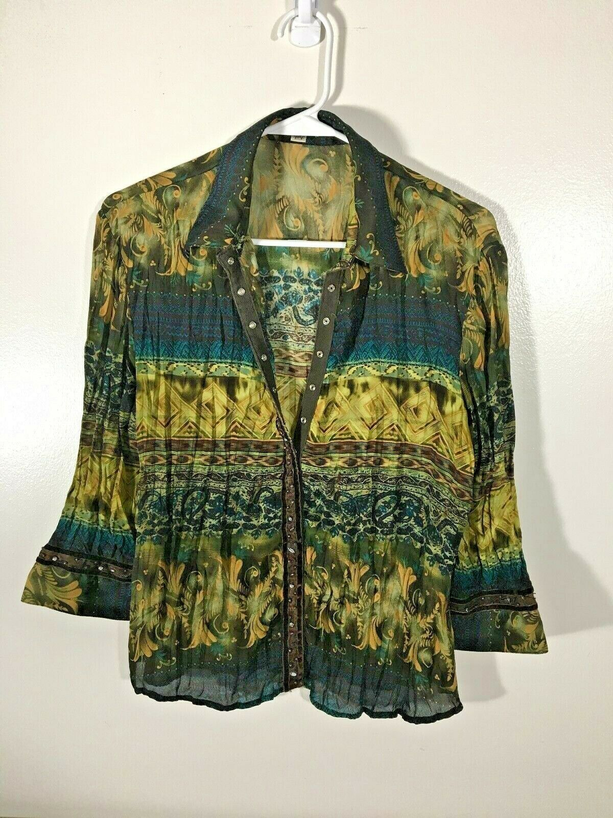 Women's Top Size S Gold Blue Blouse Bling Snaps Jaipur 3/4 Sleeve Pleated Small