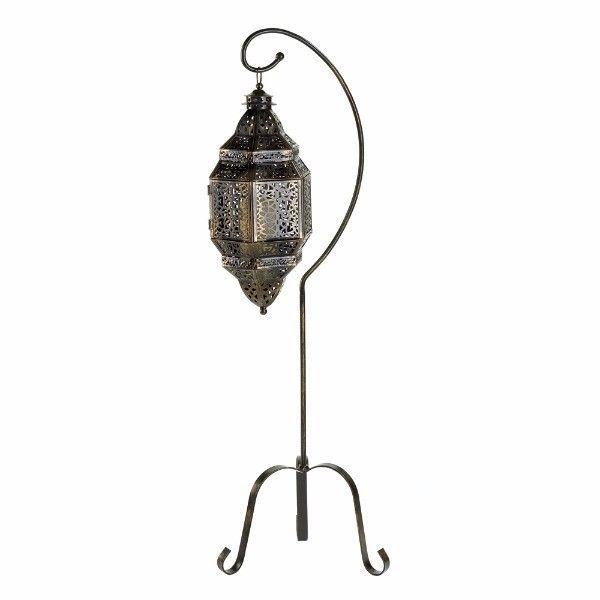 Hanging Moroccan Style Lattice Candle Lantern on Stand