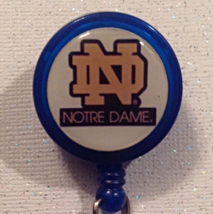 Ncaa Notre Dame Badge Reel Id Holder College Alligator Clip Blue handmad... - $6.95