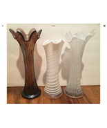3 Tall Glass Funeral Vases Fenton? - $42.00
