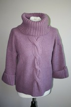Talbots S P Petite Mauve Pink Turtleneck Cable Knit Sweater Acrylic Wool... - $26.60