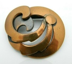 Copper Mid Century Modernist Flower Brooch Pin Vintage - $24.74