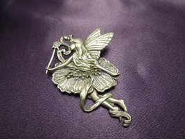 Vintage 1980's JJ Jonette Fairy Princess Lavender Pewter Pin Brooch - $24.75