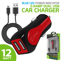 2.4A /12W Dual USB Port Car Charger + Micro USB Cable For Samsung LG Mot... - $6.59