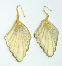Beige Large Shell Gold Tone Dangle Earrings Vintage - $19.79