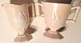 Baltimore Pear Pattern Jeanette Pink Milk Glass Cream & Sugar Set Vintage - $21.78