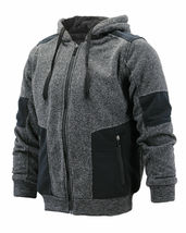 Men's Two Tone Warm Soft Sherpa Lined Moto Quilted Zipper Fleece Hoodie Jacket image 3