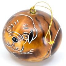 Handcrafted Carved Gourd Art English Bulldog Puppy Dog Ornament Handmade in Peru image 2