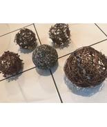 5 Natural Grapevine Twig Balls Pip Berry Rustic Sphere Decoration Displa... - $19.79