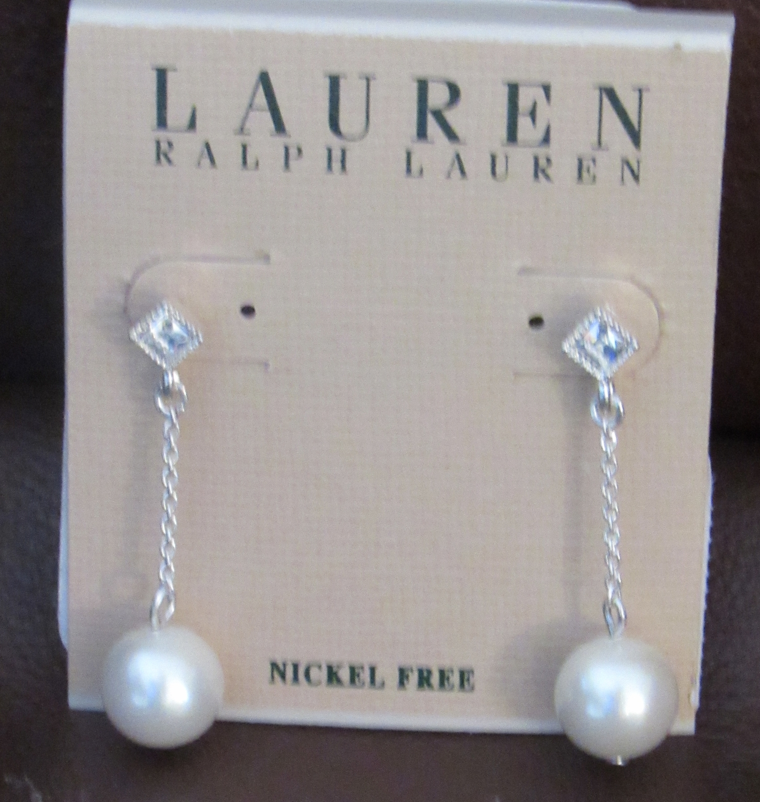 Primary image for LAUREN RALPH LAUREN WOMEN NICKEL FREE EARINGS FAUX PEARL/GLASS SILVER NEW