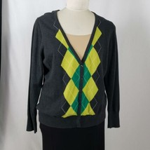 Old Navy Cardigan Sweater Women's Size XXL Argyle Black Green Button Front - $9.90
