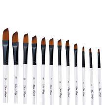 12 pcs White Brush Penholder Oblique Front Nylon Hair Brush Art Painting - $14.73