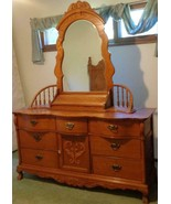 Amazing Lexington Oak Finish Triple Dresser with Spindle Mirror & Box - VGC - $1,187.99