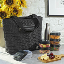 Quilted Luxe Insulated Laptop Bag with Zipper Front Pocket & Containers ... - $32.97