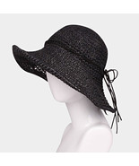 Ginga's Galleria Black Flexible Straw Floppy Sun Beach Hat w/ Faux Suede... - $20.75