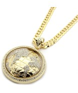 """Mens Gold Iced Out The World Earth Pendant Hip-Hop 30"""" Inch Cuban Neckla... - $247.50"""