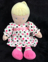 Carters Baby Doll Pink Grey Dots Dress Blonde Blue Eyes Plush Stuffed An... - $43.53