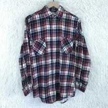 Highlander Flannel Bud Berma Shirt Plaid Red Blue Button Front VTG Mens ... - $29.69