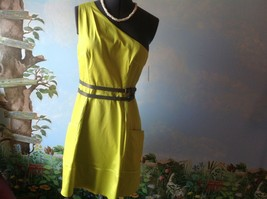 Jessica Simpson One Shoulder Women's Yellow With Gray Belt Dress Size 12... - $63.36