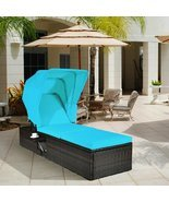 Outdoor Chaise Lounge Chair with Folding Canopy - £214.33 GBP+