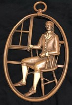 """12"""" x 7 1/4"""" Mid Century Vintage Syroco Wood Male with Pipe in Chair Wal... - $17.14"""