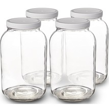 1-Gallon Glass Jar Wide Mouth with Airtight Plastic Lid Clear (4 Pack) - $39.99